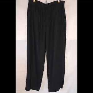 J Jill Black Wide Leg 100% Linen Pants Size 8